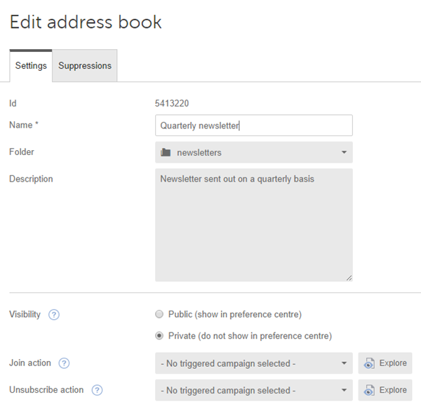 Triggering a campaign when a contact joins an address book – Address Book Example